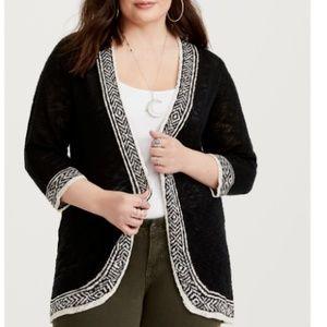 Torrid Open Cardigan Sweater Plus Size 4 4X Black